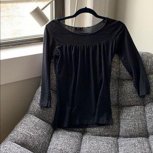 Simple, Three Quarter Sleeve Black Shirt